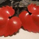 Red Leaf Enamel Post Earrings