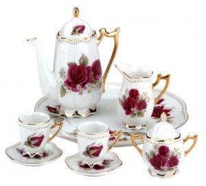 10-Piece Ceramic Red Rose Tea Set