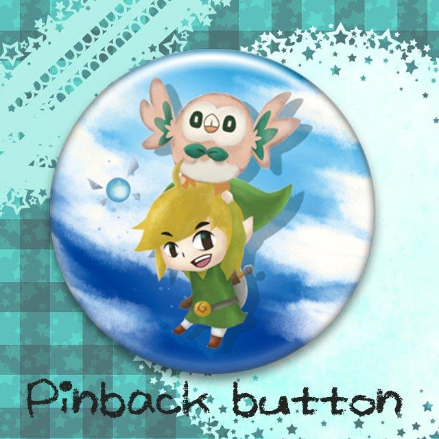 Fan art Pin back button (Link&Rowlet)