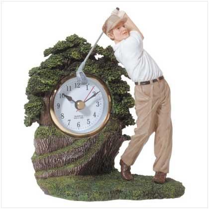 Golfer Statue Clock - Golf clock
