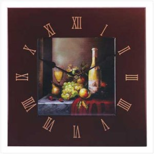Wine And Fruit Tile Wall Clock