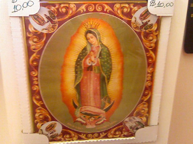 Virgin of guadalupe Poster- Framed with glass on front.