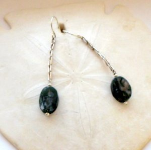 Moss Agate Tablet Earrings