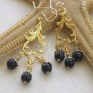 Gold Chandelier Spades with Black Onyx Earrings
