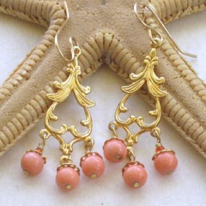 Gold Chandelier Spades With Coral Earrings