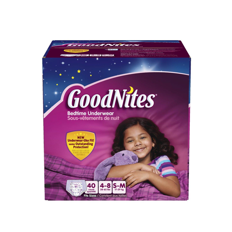 Goodnites Youth Pants Girls Bedtime Underware Size SM/MED ...