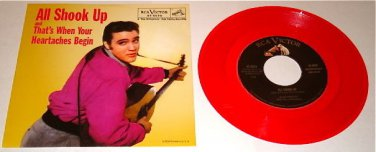 ELVIS PRESLEY ALL SHOOK UP RED COLORED VINYL PICTURE  SLEEVE & 45