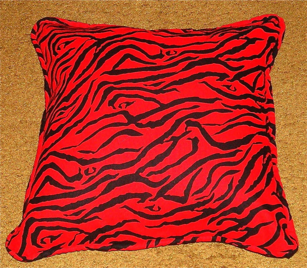 Decorative Pillows Red And Black : DECORATIVE PILLOW BLACK AND RED ZEBRA STRIPED HANDMADE