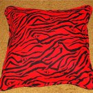 DECORATIVE PILLOW BLACK AND RED ZEBRA STRIPED HANDMADE