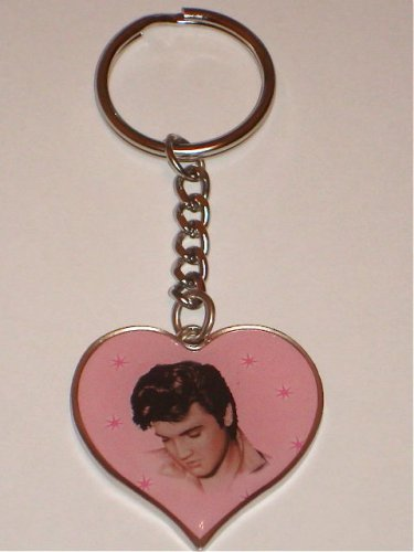 Elvis Presley Heart Shaped Keychain With Photo Brand New !