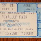 THE MONKEES CONCERT TICKET SEPT. 12, 1987 (FULL TICKET - NOT TORN)