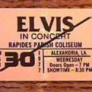 ELVIS CONCERT TICKET RAPIDES PARISH COLISEUM  3/30/77