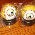 THE BEATLES YELLOW SUBMARINE SET OF 4 BASEBALLS WITH STANDS SEALED IN PLASTIC!