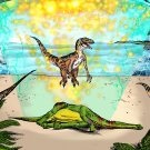 Velociraptor UFO Amaral Cartoons Poster