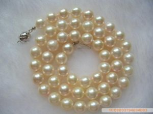 Sea Water Pearl Necklace 7-7.5 mm White with Pink