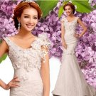 Free Shipping 2283 Mermaid Train Lace Bridal Wedding Gown Prom Ball Evening Dress Size 6-20