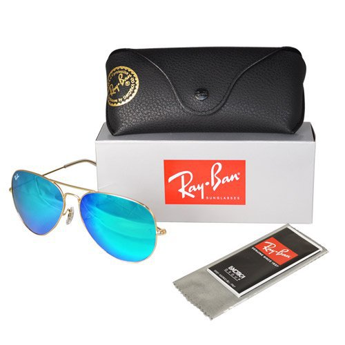 NEW RAYBAN 3025 RB3025 AVIATORS 112/17 GOLD FRAME BLUE MIRRORED 58 MM