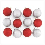 Silver and Red Glitter Ornaments