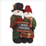 Plush Standing Snowman Couple