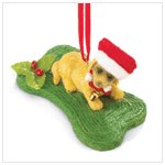 Christmas Puppy with Bone Ornament