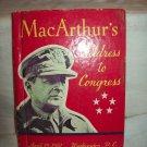 MacArthur's Address To Congress. Gen. Douglas MacArthur, author. 1st Edition. VG+