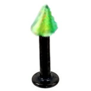 Black & Green Labret/Spike 14g3/8
