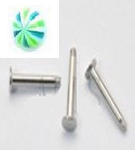 14g Stripe Green,White Blue /S.S. Steel Labret