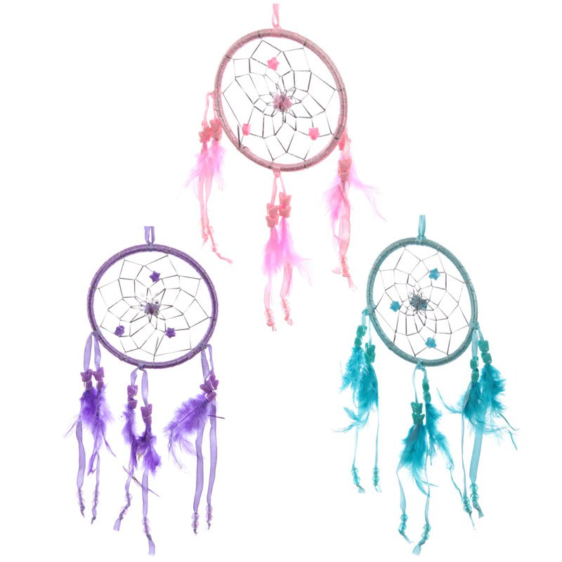 """Colourful Feathered Dreamcatcher 11cm (4.5"""")"""