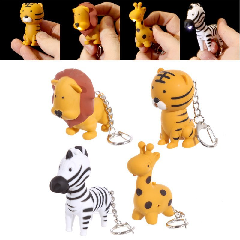 Novelty LED Zoo Designs Key Rings with Sound - OUT OF STOCK