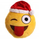 Winking Emotive Cushion with Christmas Hat