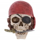 Gothic Pirate Skull Decoration with Head Scarf