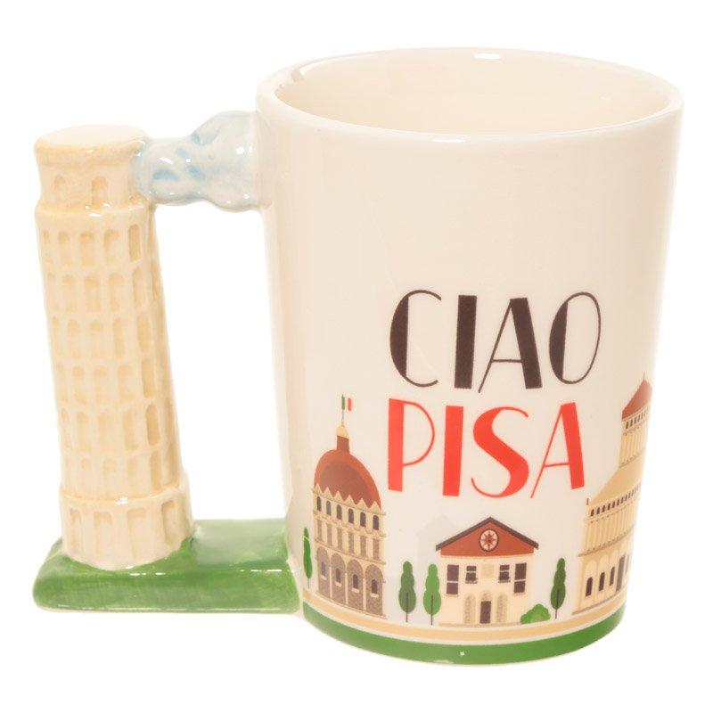 Leaning Tower of Pisa Handle Ceramic Mug