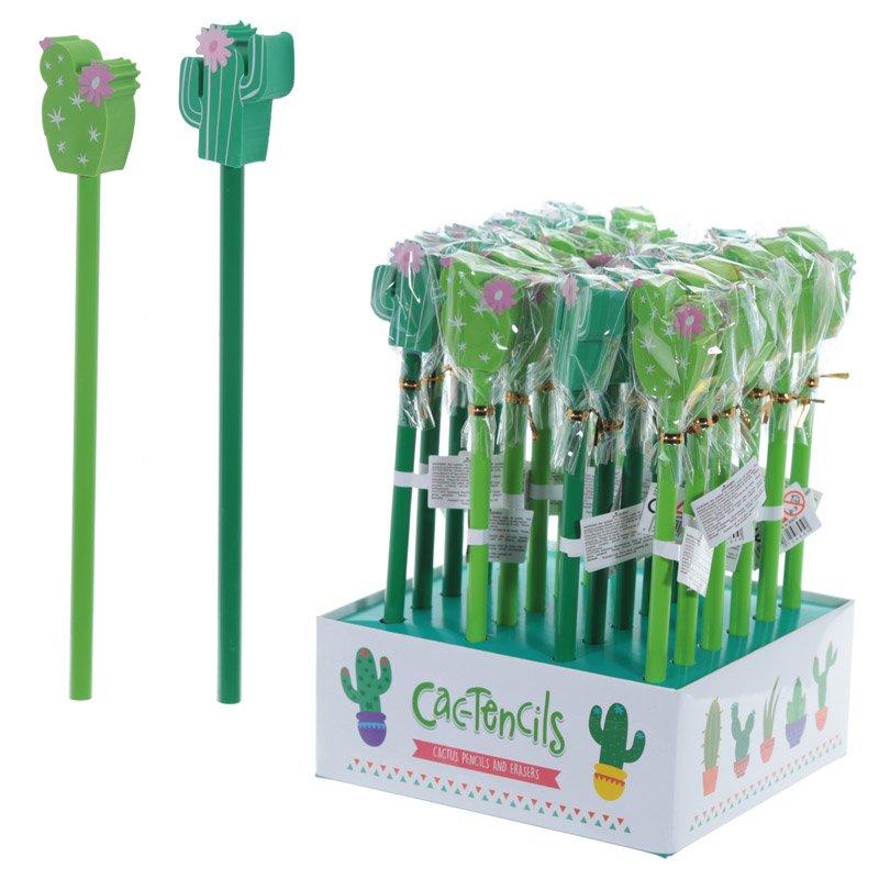 Cactus Design Pencil and Eraser Set (Assorted)