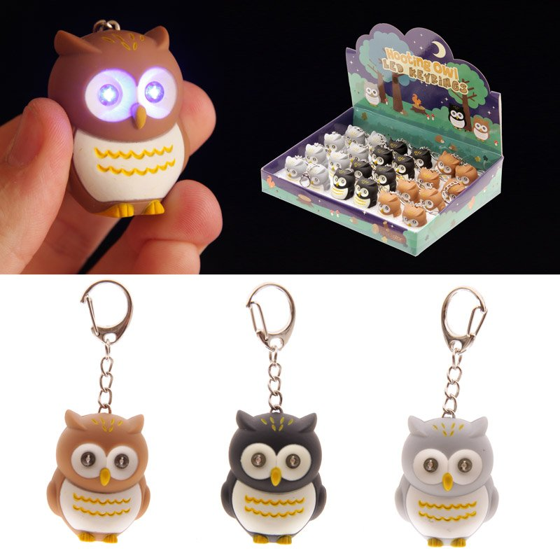 Hooting Owl Key Ring with Light Up Eyes