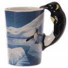 Novelty Arctic Design Penguin Shaped Handle Mug