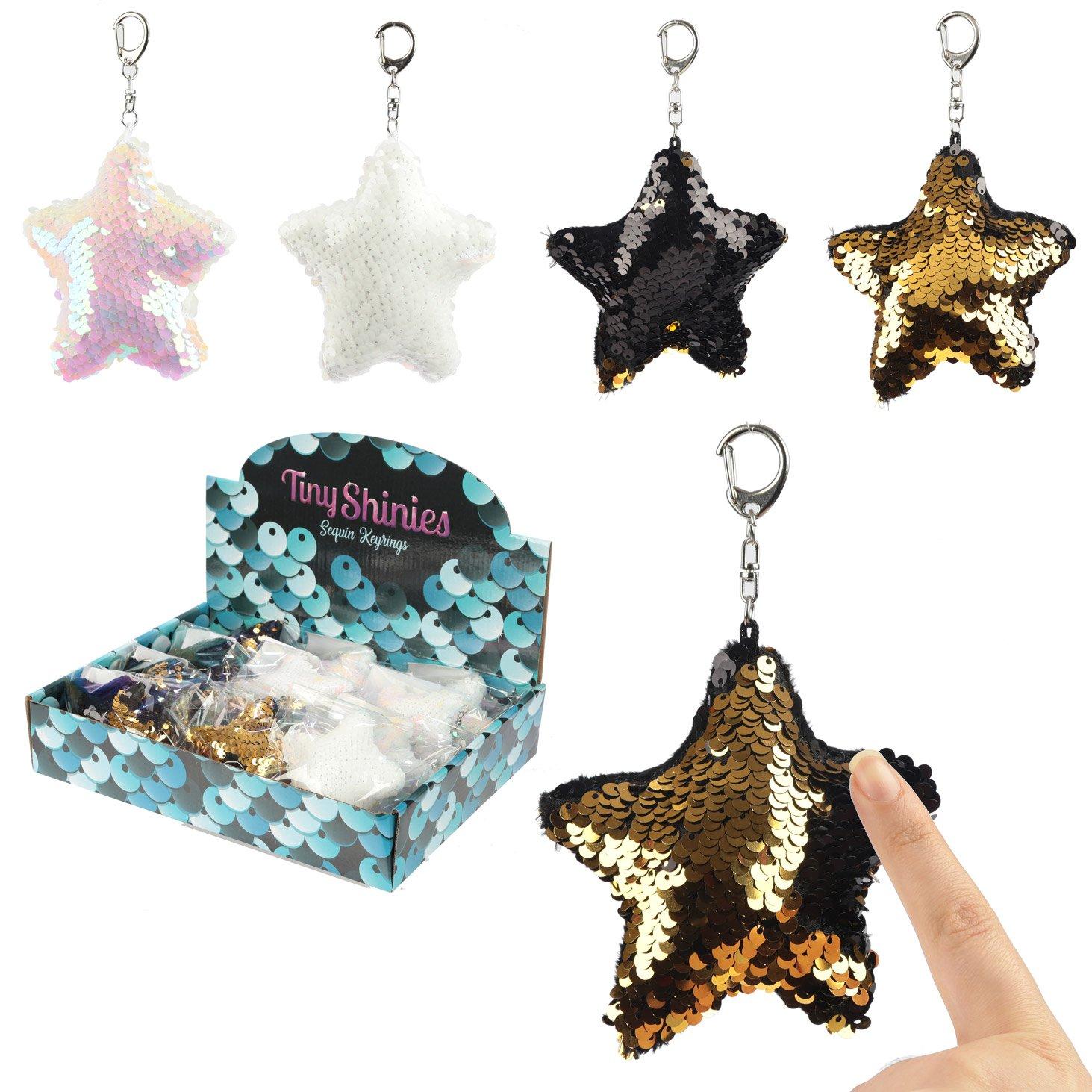 Fun Star Shaped Glitter Sequin Keyring Key Chain