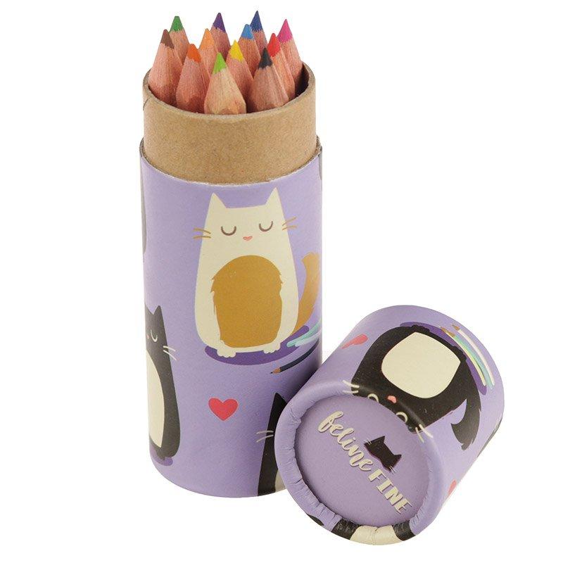 Kids Colouring Pencil Tube - Cat
