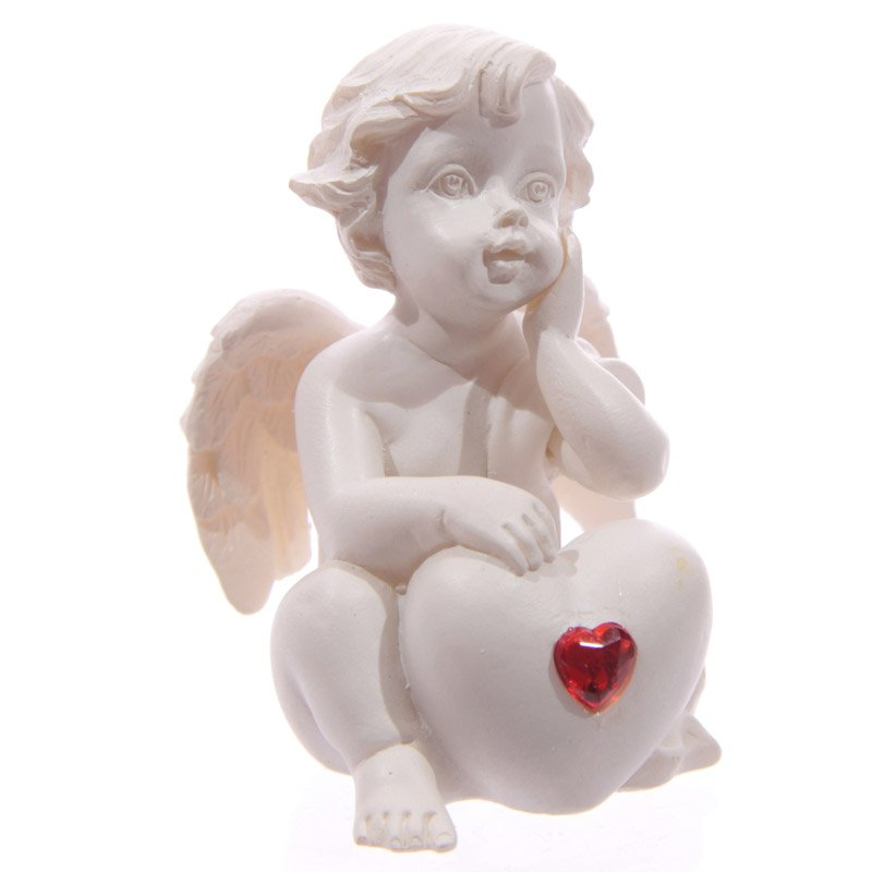 Seated Love Cherub with Red Heart Gem
