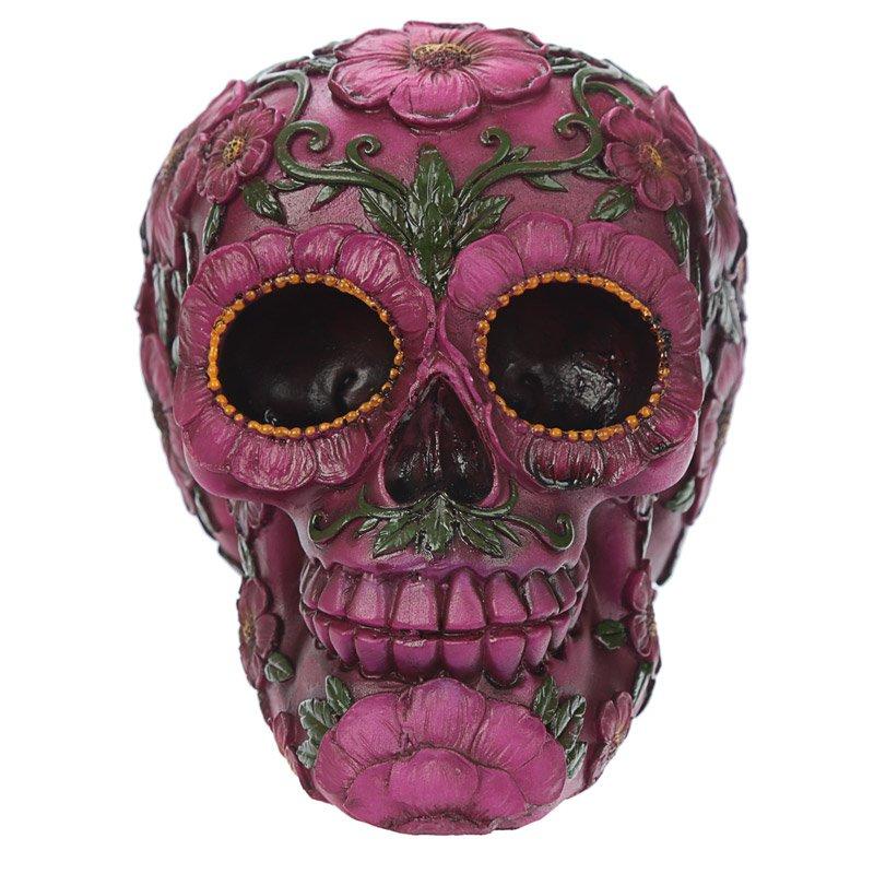 Day of the Dead Pink Flower Skull