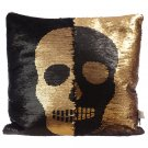 Sequin Two Tone Skull Cushion