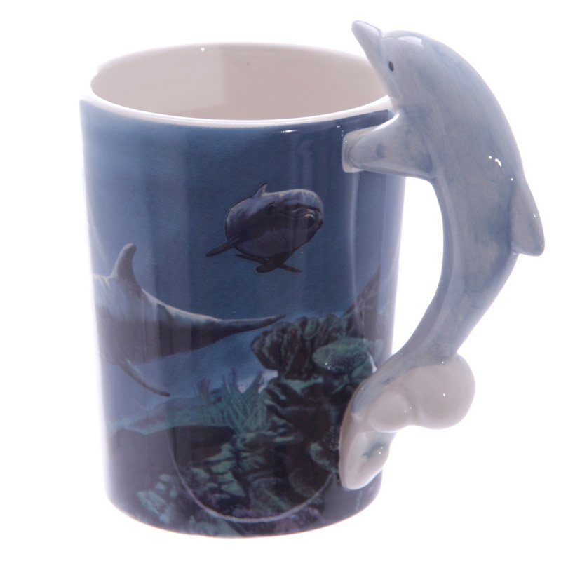 Ceramic Mug with Dolphin Handle