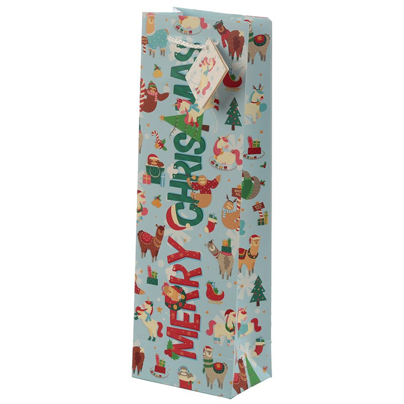Christmas Festive Friends Animal Design Wine Bottle Gift Bag