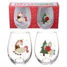 Christmas Unicorn Glass Tumbler Set of 2