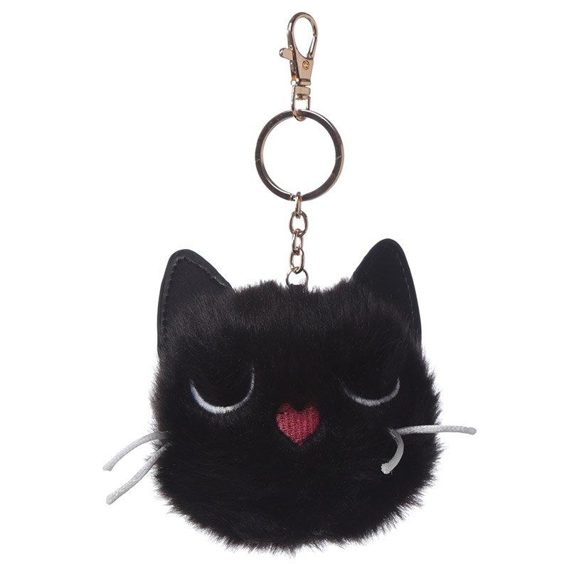 Pom Pom Keyring - Black Cat