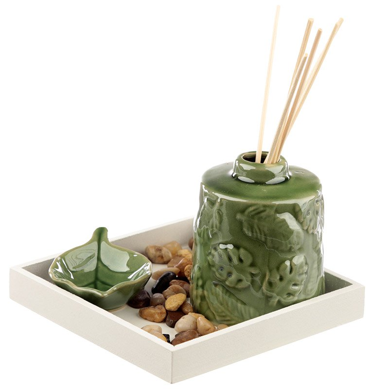 Eden Aroma Set - Ceramic Tropical Leaf Diffuser Set