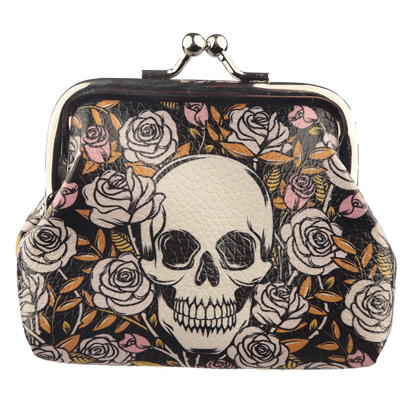 Skulls & Roses Tic Tac Change Purse