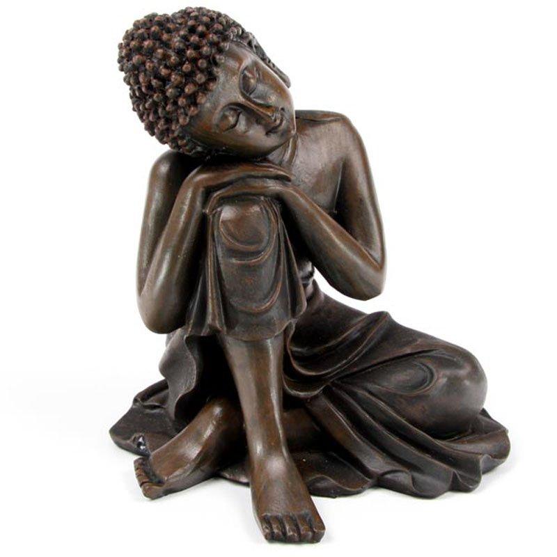 Wood Effect Thai Buddha with Head on Knee