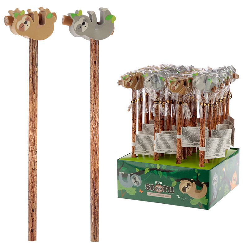 Cute Sloth and Branch Pencil and Eraser Set