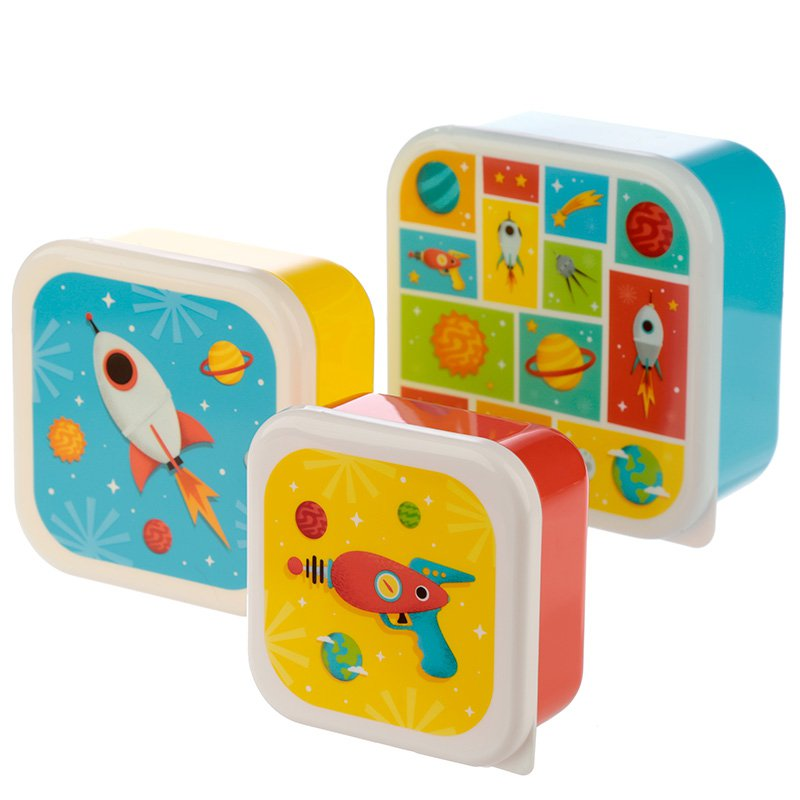 Set of 3 Plastic Lunch Boxes - Space
