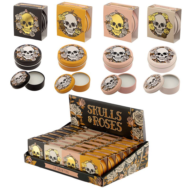 Fun Flavoured Lip Balm in a Tin - Skulls and Roses Design